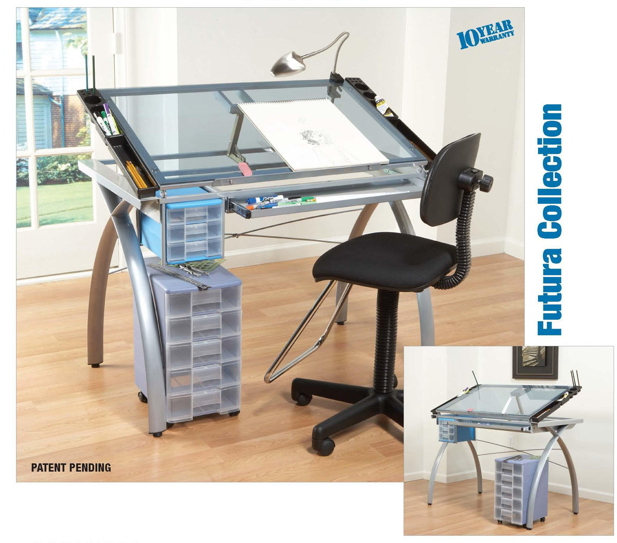 Studio design glass top vision drawing table combo ebay for Glass design table